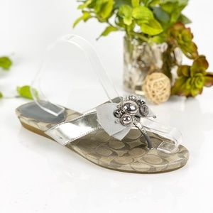 Coach Sandal Slide Thing Silver Bow Slip On Jewels